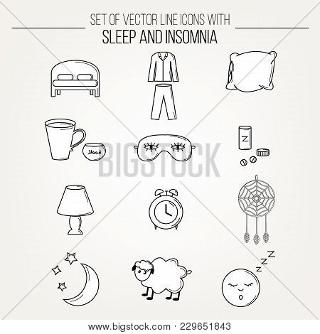Collection Of Modern Line Vector White With Black Outline Icons Insomnia And Sleep Problems Symbols.