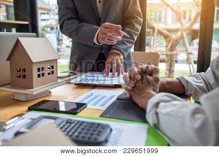 Business meeting of real estate broker, Business meeting working with new startup project. Idea presentation analyze plan. poster