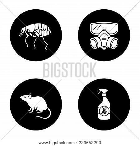 Pest Control Glyph Icons Set. Insects Repellent, Flea, Respirator, Rodent. Vector White Silhouettes