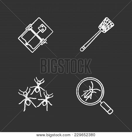 Pest Control Chalk Icons Set. Cockroach Searching, Fly-swatter, Mouse Trap, Ants. Isolated Vector Ch