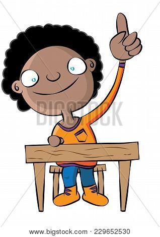 Cute Black School Girl Raise Hand In Class Vector Illustration