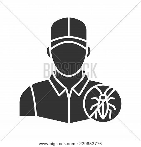 Exterminator Glyph Icon. Pest Control Service. Silhouette Symbol. Negative Space. Vector Isolated Il