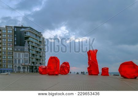 City Embankment With Famous Sculpture In Ostend, Belgium