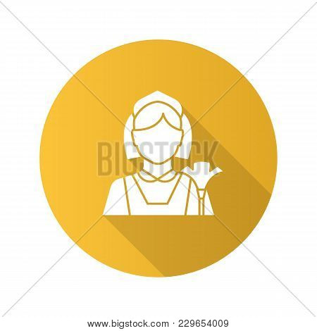 Maid Flat Design Long Shadow Glyph Icon. Cleaner. Housekeeping. Vector Silhouette Illustration