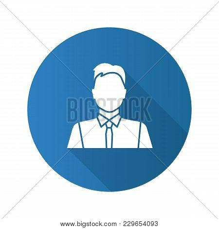 Office Worker Flat Design Long Shadow Glyph Icon. Party Maker, Showman. Businessman, Admin, Manager.