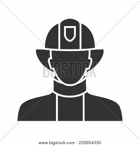 Firefighter Glyph Icon. Fireman. Dangerous Profession. Silhouette Symbol. Negative Space. Vector Iso