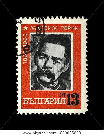 Sofia, Bulgaria - Circa 1968: Canceled Stamp Printed In The Bulgaria Shows Maxim Gorky Aka Alexei Ma