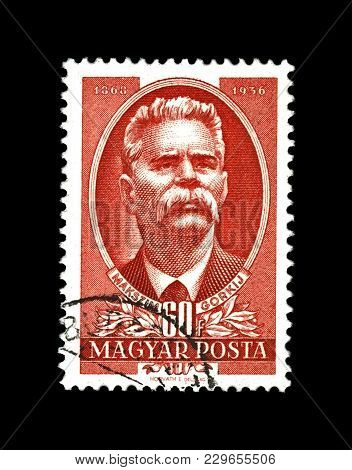 Hungary - Circa 1951: Canceled Stamp Printed In The Hungary Shows Maxim Gorky Aka Alexei Maximovich