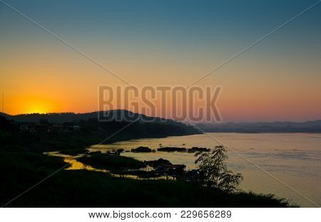 Sunset At Mekhong River In Leoi Province The Northeast Of Thailand