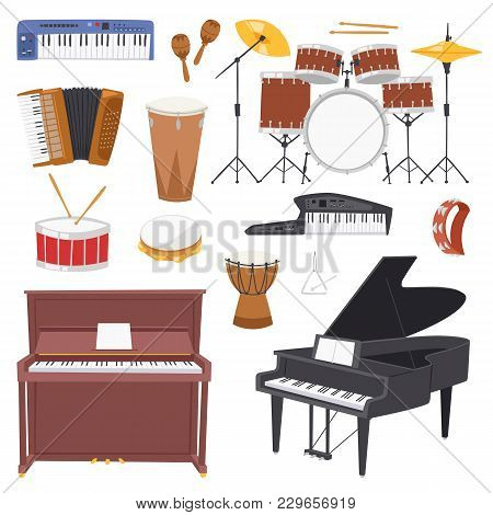 Musical Instruments Vector Music Concert With Piano Or Musicians Synthesizer And Drum Kit Illustrati