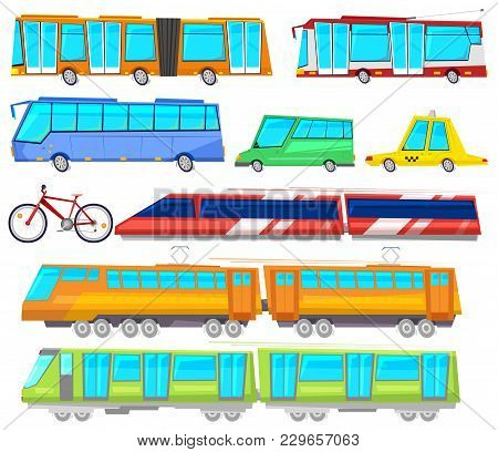 Transport Vector Public Bus Or Train Transported Passengers And Car Or Bicycle For Transportation In
