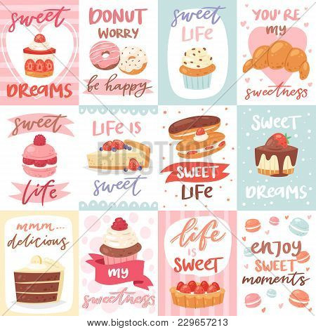 Sweets Lettering Vector Confectionery Cupcake Sign And Sweet Confection Chocolate Dessert With Caked