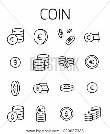 Coin Related Vector Icon Set. Well-crafted Sign In Thin Line Style With Editable Stroke. Vector Symb