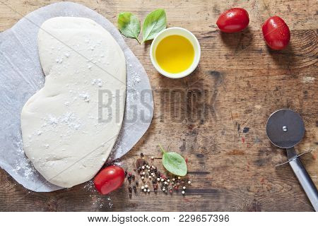 Pizza Dough And Components For Preparation Homemade  Hot Rural Health Pizza. Food Ingredients On The