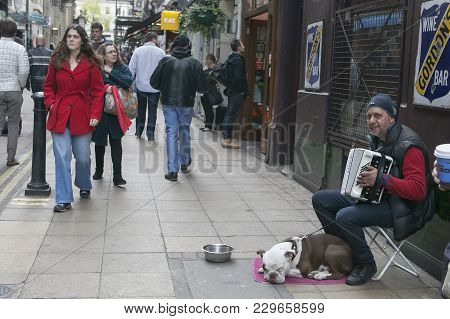 London - August 27, 2016: Street Musician Playing The Accordion, With The Dog