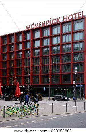 Frankfurt, Germany - March 02: The Modern Facade Of The Moevenpick Hotel Frankfurt City Opposite The