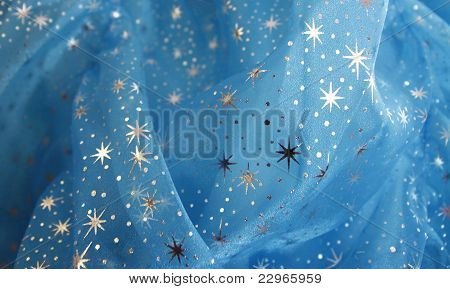 Blue Tulle Fabric With Stars