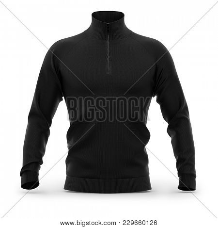 Men's zip neck pullover with raglan sleeves, rubber cuffs and collar. Front view. 3d rendering. Clipping paths included: whole object, collar, sleeve, cuffs, zipper.  poster