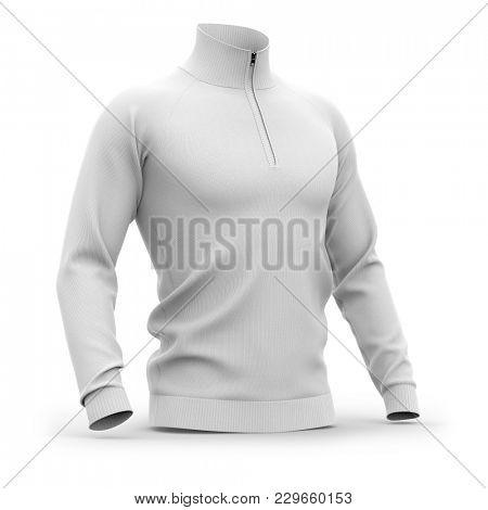Men's white zip neck pullover with raglan sleeves, rubber cuffs and collar. Half-front view. 3d rendering. Clipping paths included: whole object, collar, sleeve, cuffs, zipper.  poster