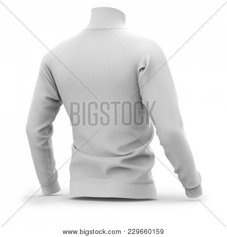 Men's white zip neck pullover with raglan sleeves, rubber cuffs and collar. Half-back view. 3d rendering. Clipping paths included: whole object, collar, sleeve, cuffs, zipper.  poster