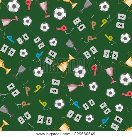 A Set Of Accessories For Playing Football, A Whistle, A Cup. There Is A Ball And Other Items. Seamle