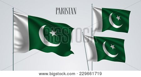 Pakistan Waving Flag Set Of Vector Illustration. White Green Colors Of Pakistan Wavy Realistic Flag