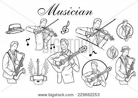 Set Of Artists Musician Playing. Saxophone Player. Guitar Player. Violinist Player.. Musician Plays