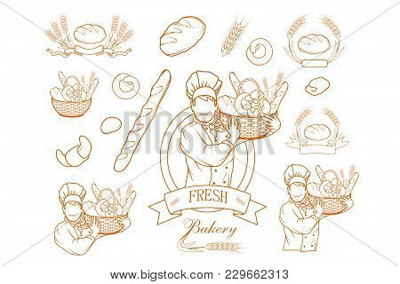 Set Of Bakery Chef Cook. Fresh Bread. Bakery Products. Bread Shop. Bake Logo.