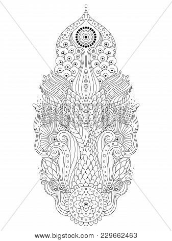 Black And White Asian Oriental Floral Mehendi Pattern, Oriental Boho Ornament, Can Be Used For Color