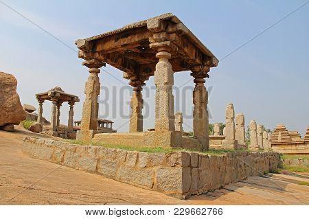 An Ancient Temple Complex Hemakuta Hill In Hampi, Karnataka, India.