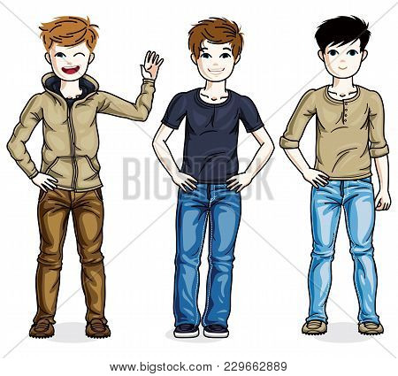 Young Teen Boys Cute Children Group Standing In Stylish Casual Clothes. Vector Set Of Beautiful Kids