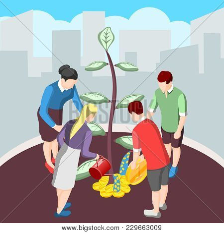 Nurturing Idea For Crowdfunding Isometric Background With Persons Watering Tree And Giving Money Vec