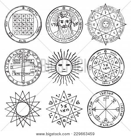 Vector Set Of Occult, Mystic, Spiritual, Esoteric Vector Symbols With Stars, Crosses, Sun And The Fa