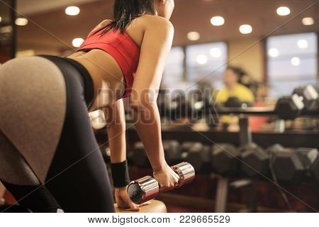 Weights lifting at the gym
