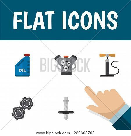 Icon Flat Service Set Of Pumping Air, Engine, Pulley And Other Vector Objects. Also Includes Car, Si