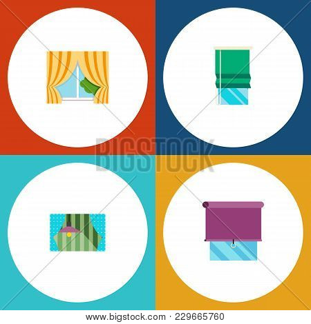 Icon Flat Frame Set Of Glazing, Curtain, Balcony And Other Vector Objects. Also Includes Curtain, Wi