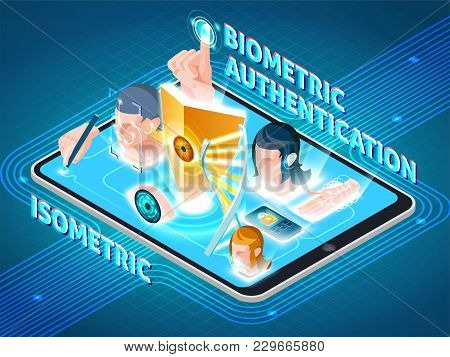 Biometric User Identification Secure Methods Isometric Composition On Smartphone Screen With Eye Fac