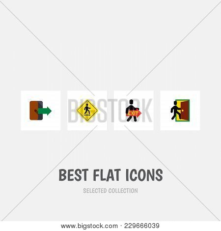 Icon Flat Emergency Set Of Open Door, Directional, Exit And Other Vector Objects. Also Includes Exit