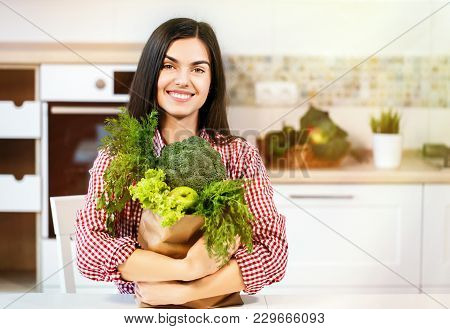 Lovely Slim Woman, In Checked Red Shirt Holding Shopping Bag With Green Food, Concept Of Consuming H
