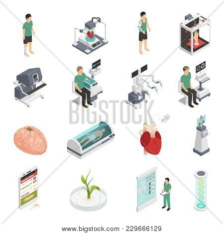 Medical Future Technologies Isometric Icons Set With 3d Organs Printing Regeneration Genetic Enginee