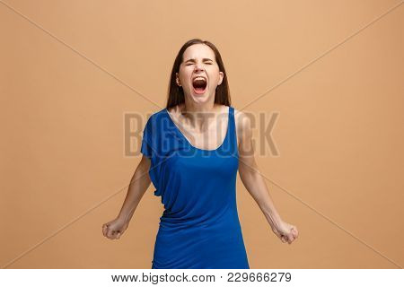 Screaming, Hate, Rage. Crying Emotional Angry Woman Screaming On Pastel Studio Background. Emotional