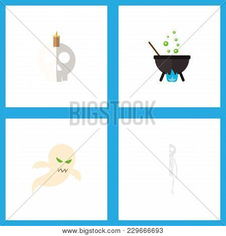 Icon Flat Celebrate Set Of Cranium, Phantom, Cauldron And Other Vector Objects. Also Includes Craniu