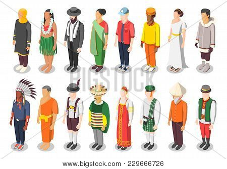 Multinational World Culture Isometric Icons Set Of Sixteen Characters In Colorful Native National Co