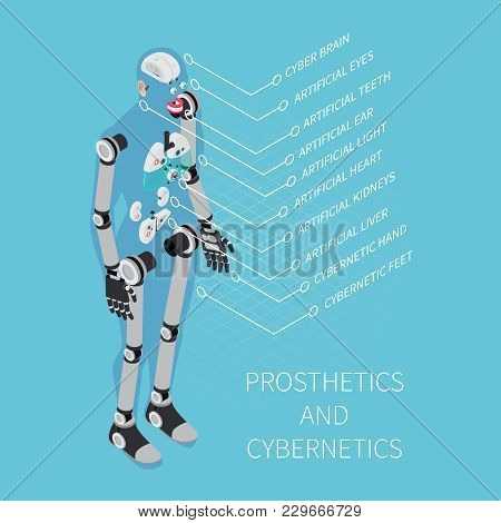Prosthetics And Cybernetics Composition With Healthcare Symbols On Blue Background Isometric Vector