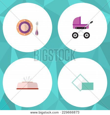 Icon Flat Baby Set Of Napkin Box, Pram, Dish And Other Vector Objects. Also Includes Napkin, Baby, T