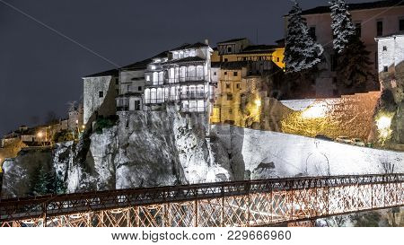 Night View Of Hanging House Over The Rocks In Cuenca, Spain