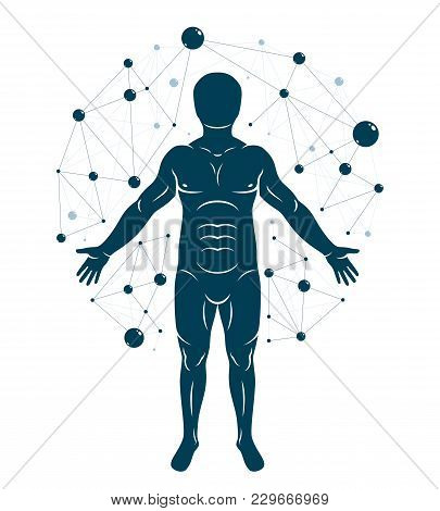 Vector Graphic Illustration Of Human, Individuality Created With Mesh Wireframe Connections. Biochem