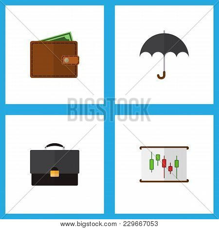 Icon Flat Finance Set Of Chart, Briefcase, Wallet And Other Vector Objects. Also Includes Pocketbook