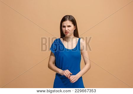 Reject, Rejection, Doubt Concept. Disgust Woman With Thoughtful Expression Making Choice. Young Emot