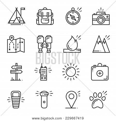 Hiking And Camping Line Icons Set. Outdoor Camp Sign And Symbol. Backpacking Adventure